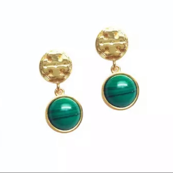 Tory Burch gold and green drop earrings
